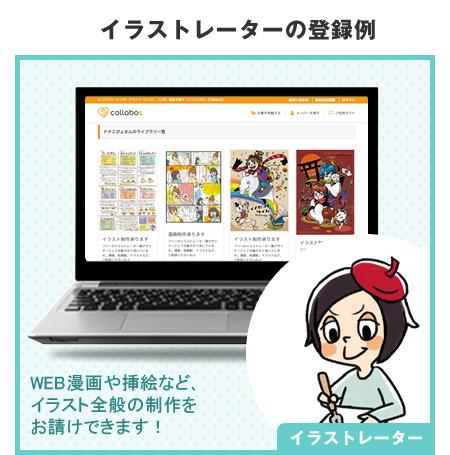 例1 イラストレーターの登録例 WEB漫画や挿絵など、イラスト全般の制作をお請けできます!