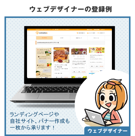 例2 ウェブデザイナーの登録例 ウェブページの作成・修正については一度ご相談ください!